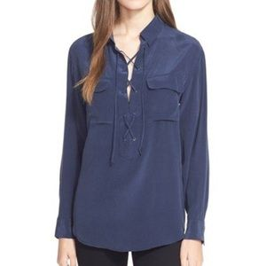 Equipment Knox Silk Lace Up Top